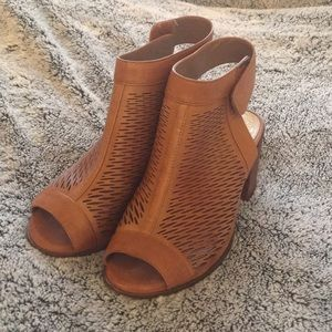 Vince camuto leather open toe booties.